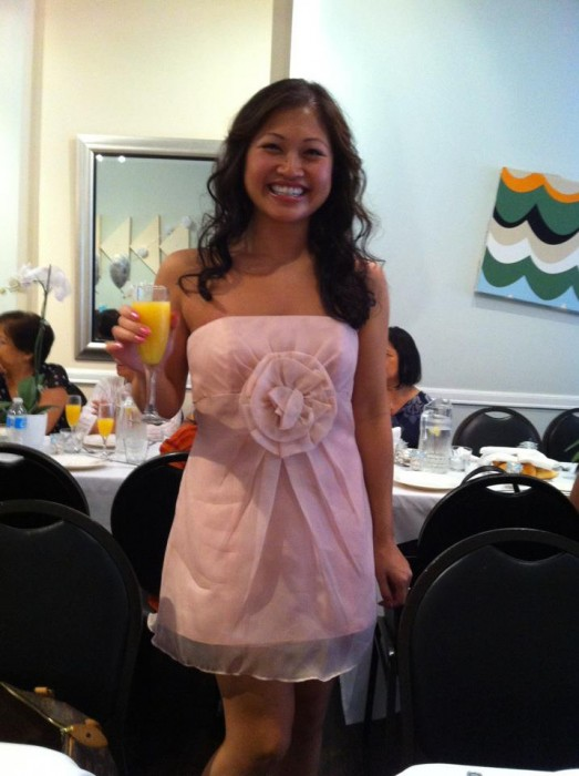 The author in her Melissa Sweet dress.