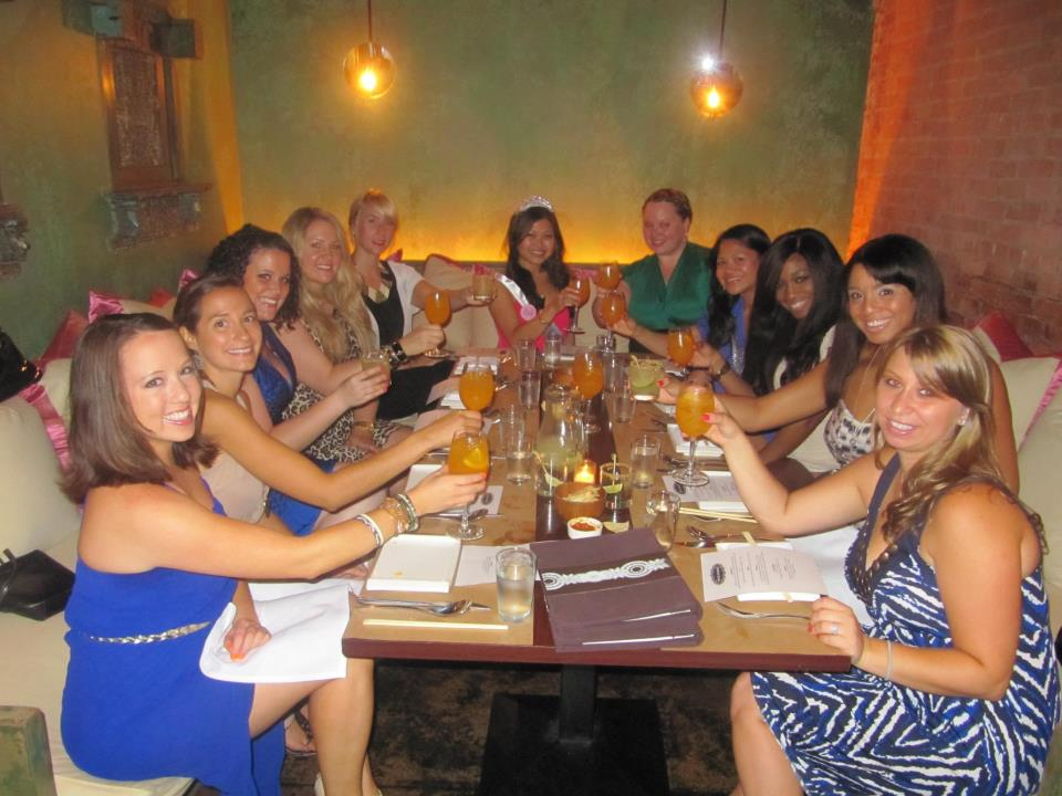Friends partaking in the author's bachelorette night celebrations.